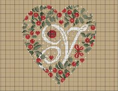 Y Heart of Berries Alphabet Cross Stitch Patterns alfabeto cuore di bacche: Y Homemade Anniversary Gifts, Boyfriend Anniversary Gifts, Wedding Anniversary Gifts, Cross Stitch Letters, Cross Stitch Heart, Christmas Cross, Diy Christmas Gifts, Cross Stitching, Cross Stitch Embroidery