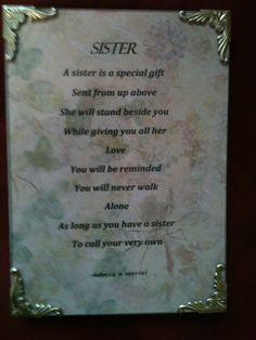 elegant glass framed sister poem gift. $10.00, via Etsy.