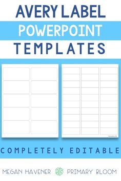 These Avery Label PowerPoint Template are a great way to add customized organization to any space. They are completely editable so you can add your own fonts and background to match your designs and organizational needs. I love using them in my elementary classroom to  create beautiful classroom organization that matches my classroom theme. They are also great for TPT sellers because they can be used for limited commercial use. These are compatible with Avery Label 5160 and Avery Label 5163…
