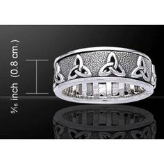 Triquetra Celtic Knot Sterling Silver Spinner Ring - New at GothicPlus.com Price: $64.50  The Triquetra appears to be one of the simplest Celtic Knots but it's meaning is profound. Representing the triplicities that surround us (earth sea sky; birth death rebirth; the maiden mother and crone aspects of the Goddess) the Triquetra is a powerful statement about the world around us.  The outer band spins freely around the ring giving a beautiful and soothing diversion for idle hands. Makes a…
