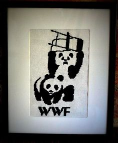 Pandamonium Cross Stitch Pattern.  Pandas: cute, fuzzy, treacherous.  Never turn your back on a panda