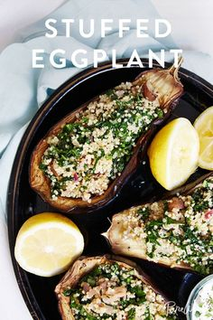 Stuffed Eggplant recipe. It's ready in under an hour and vegetarian friendly. What's not to love?