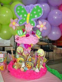 Decoraciones de Centros de Mesa para Fiestas Infantiles Frozen Birthday Theme, Butterfly Birthday Party, Birthday Parties, Party Centerpieces, Diy Party Decorations, Birthday Decorations, Start The Party, Tinkerbell Party, Candy Party