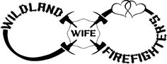 Wildland Firefighter's Wife Infinity with Hearts Decal