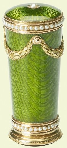 Fabergé Seal - Creation Date: c. Green enamel seal with tapering circular body set with pearls, top hung with garland of laurels in green gold. Pink stone on base engraved with a Cyrillic character. Couleur Chartreuse, Art Nouveau, Royal Collection Trust, Pink Stone, Objet D'art, Wax Seals, Green And Gold, Bright Green, Saint Petersburg