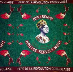 """Mobutu/""""MPR=Servir"""" cloth, c 1970, from the period pushing volunteer national labor & before full """"Zaire-ification"""". Note the evolution of the president's appearance - away from military & European decoration, called the """"abacost"""" movement. Image celebrates his party, the Mouvement populaire de la Révolution : slogan & appearance suggest a date just prior to 1971. See image from demonstration c.1970 for men wearing shirts made from this fabric."""