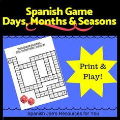 If you're teaching days, months & seasons in Spanish you need this game. A perfect activity to engage middle school kids & high school students. This prep free printable game board helps students practice calendar words as well as days, months & seasons. Perfect for high engagement & retention. This works with any curriculum. Diy Calendar, School Calendar, Student Games, Student Work, Printable Board Games, Free Printable, Game Zero, High School Students, School Kids