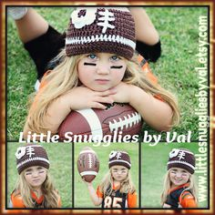 LSBV Classic Girly Football Hat Infant-Adult Sizes Made to Order on Etsy, $21.95