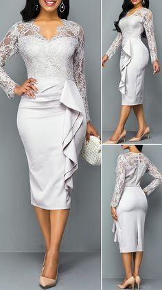 African Lace Dresses, African Dresses For Women, African Fashion Dresses, Lace Dress With Sleeves, The Dress, Elegant Dresses, Casual Dresses, Sexy Dresses, African Traditional Dresses