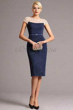eDressit Beaded Neck Blue Vintage Short Cocktail Dress (03161005)