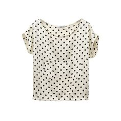 Back-zipper Dotted Print Cream Shirt ❤ liked on Polyvore featuring tops, blouses, shirts, t-shirts, polka dot top, dot shirt, polka dot blouse, dot print shirt and cream top