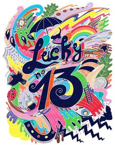 Mimi Leung's portfolio, presented by The Jacky Winter Group. Lucky Number 13, Lucky 7, Jacky Winter, Anime Animals, Cool Stickers, 6th Birthday Parties, Typography Prints, Creative Inspiration, Design Inspiration