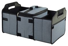 Picnic At Ascot Trunk Organizer and Cooler Set - Houndstooth Black and White - This durable 3 section trunk organizer has a removable Thermal Shield insulated cooler. Great for keeping sports gear, cleaning supplies and groceries organized. Picnic At Ascot, Trunk Organization, Organization Station, Car Trunk, Motorhome, Tailgating, One Kings Lane, Getting Organized, Houndstooth