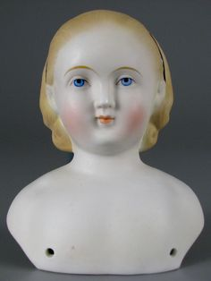 "German bisque ""Alice in Wonderland"" doll head by Alt, Beck & Gottschalk, 1850-1860."