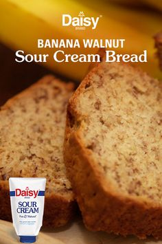 Banana Walnut Sour Cream Bread Serve up a sliver of springtime flavor with this nutty and sweet breakfast treat. What's the secret ingredient that makes it so moist? Sour Cream Banana Bread, Banana Walnut Bread, Moist Banana Bread, Banana Nut, Walnut Bread Recipe, Crackers, Daisy Sour Cream, Muffins, Dessert Recipes