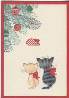 Vintage Gibson Christmas Card -Kittens with Christmas Tree