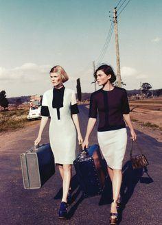 ladies and suitcases
