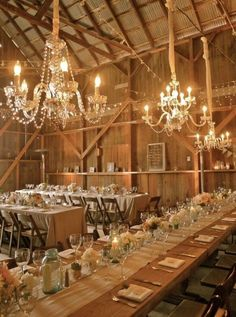 Just because your wedding is in a barn doesn't mean it can't be glamorous!  Mix burlap with crystals and mason jars with stemware and you have a recipe for a stunning wedding!