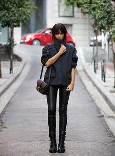 ★ //» #EvangelieSmyrniotaki throwing a blackout down with her Miu Miu jacket in Paris. #StyleHeroine