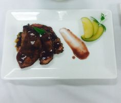 'Sweet Bourguinon' - #jwuculinary It is my play on the classical French, Beef Bourguinon.   Veal Tenderloin, warm cinnamon apple salad with dates & dried cherries, Burgundy wine sauce. Submitted by Tyler Scott.