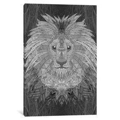 "East Urban Home 'Great Lion' by Angelika Parker Graphic Art on Wrapped Canvas Size: 26"" H x 18"" W x 1.5"" D"