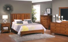Exciting Modern Bedroom Interior Ideas With Popular Grey Paint Wall Schemes And Mission Style Low Profile Bed Frame In Honey Oak Wood Furniture Set, Classic Inspiration Of Mission Style Bedroom Furniture For Decorating Ideas: Bedroom, Furniture