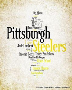 Pittsburgh Steelers - Greatest Football Players - 8x10 Word Cloud Art Print - Gift Idea. $15.00, via Etsy.