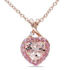 Miadora Rose-plated Silver Morganite Tourmaline and Diamond Necklace Sale $90.89