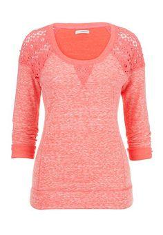 "<ul><b>Overview</b><li>ultra soft and cozy fabric</li><li>adorable crochet shoulder detail</li><li>long sleeves</li><li>trendy spacedye fabric</li><li><a href=""http://www.maurices.com/product/index.jsp?productId=49680526"" >View Similar style in plus sizes</a></li> </ul><ul><b>Fabric and Care</b><li>Style Number: 31527</li><li>Imported</li><li>68% polyester 23% cotton 9% rayon; lace 100% cotton</li></ul>"