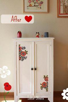 """Nueva vida para un viejo armario : Eso es lo que ha hecho mi amigaIshtar, darle otra oportunidad a un viejo armario y transformarlo en una bonita pieza. Aquí os traigo las fotos del """"antes"""