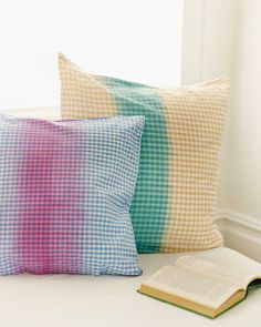 DIY Fold & Dye Gingham Pillows by Sweet Paul