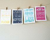 Wall art of recipes