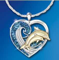 Sterling Silver Pendant Necklace with Dolphin Art