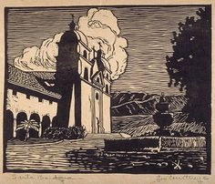 Leo Courtney United States (1889-1940)  Santa Barbara, 1908?  Relief print    The Prairie Print Makers Collection