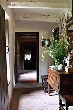 hallway with exposed beams | interior design + decorating ideas