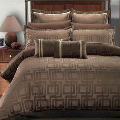 9pc Royal Hotel Janet Jacquard Brown Beige Duvet Cover Bed Bag Comforter Set #RoyalHotelcollection