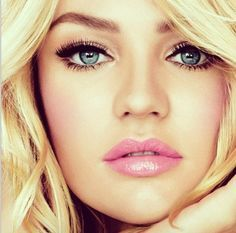 I cant decide on pink or red lips............wedding makeup for blue eyes - Google Search
