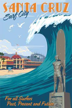Santa Cruz vintage travel poster by Steve Thomas Poster Surf, Poster Retro, Vintage Art Prints, Vintage Travel Posters, Surf Posters, Vintage Surfing, Surf Vintage, Photo Vintage, Vintage Advertisements