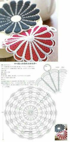 43 New Ideas Crochet Patterns Circle Hot Pads Crochet Placemat Patterns, Crochet Potholders, Crochet Flower Patterns, Crochet Doilies, Crochet Flowers, Crochet Hot Pads, Quick Crochet, Thread Crochet, Crochet Stitches