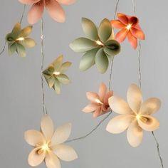 Origami flower LED battery powered string lights.
