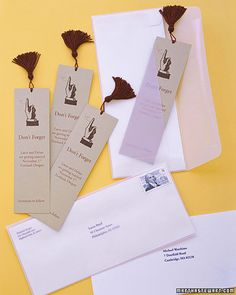 Remind guests of your wedding with every page they turn. These bookmarks were printed on lightweight card stock, five per sheet, and trimmed to 2-by-7-inch strips. Punch holes; add store-bought tassels. Mail in glassine envelopes with card-stock inserts bearing the address.