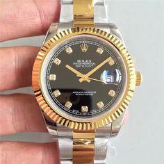 Rolex Rolex Date Just II 41mm SS/YG Black Dial Diamonds Marker Bracelet A3136