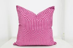 This designer velvet pillow cover will add a modern touch to your decoration as it brightens your room. The fabric is Duralee Maestro in Hyacinth.