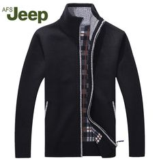 Hot Deals $23.39, Buy Afs JEEP New arrival Autumn Men's Warm Sweaters Warm Winter Pullover Mens Sweaters Casual Knitwear Fleece Velvet Clothing 60