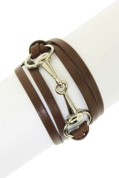 Horsebit Leather Wrap Bracelet. I would totally wear this!