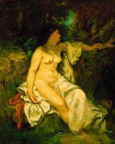 'badender schlafend durch ein `brook`' von Gustave Courbet (1819-1877, France)