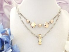 SWAROVSKI CRYSTAL NECKLACE, rose gold, pearls, 5 stone, square crystal, designer inspired, dksjewelrydesigns