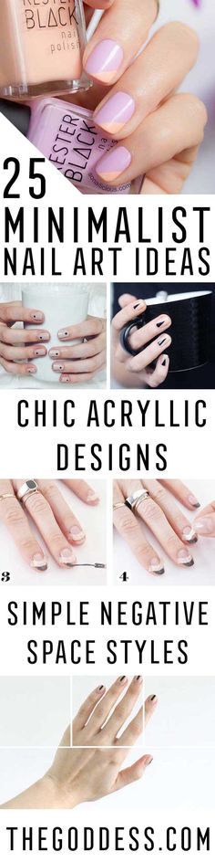 Minimalist Nail Art Ideas - Amazing Step By Step Tutorials, Tips, And Tricks For Minimalist Nail Art and Nailart Ideas. Use Negative Space, Polka Dots, Half Moons, And Black And White Contrasting Colors and Polish to Create Minimalist Nailart Looks. Try This Nail Art Look In Your Beauty Routine For Eye Catching Looks. Great For The Lazy Cool Girl. Must-Try Minimalist Manis. These Are So Simple, Anyone Can Try Them And They Are DIY. https://thegoddess.com/minimalist-nail-art-ideas