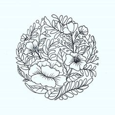 flowers in circle. I would like to tattoo this on someone! contact me if you…