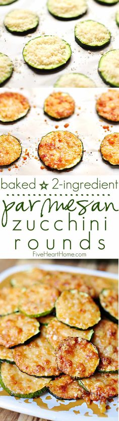 Baked Parmesan Zucchini Rounds ~ you're just 2 ingredients away from a quick and easy, delicious summer side dish! | FiveHeartHome.com Side Dish Recipes, Vegetable Recipes, Low Carb Recipes, Diet Recipes, Vegetarian Recipes, Cooking Recipes, Healthy Recipes, Snacks Recipes, Quick Recipes